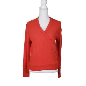 J. Crew Red Faux Wrap Long Sleeve Blouse NWT